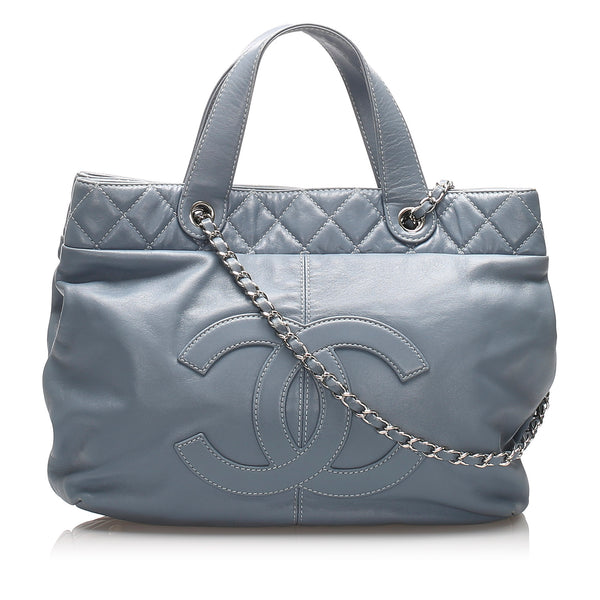 Blue Chanel Trianon Lambskin Leather Satchel Bag