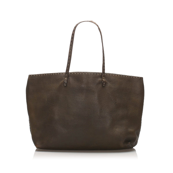 Brown Fendi Selleria Leather Tote Bag