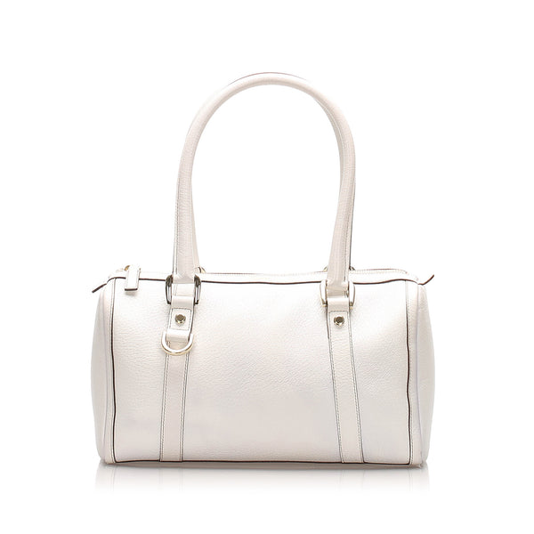 White Gucci D-ring Leather Boston Bag