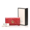 Red Gucci GG Marmont Matelasse Leather Long Wallet