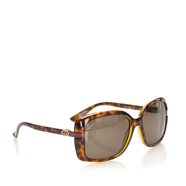 Brown Gucci Web Round Tinted Sunglasses