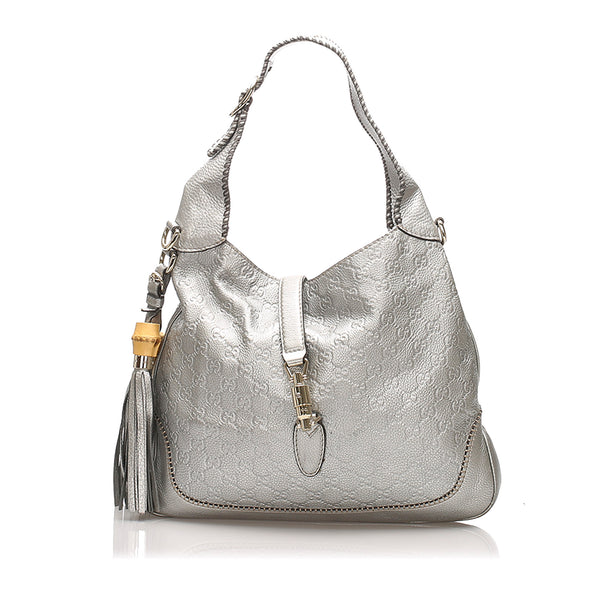 Silver Gucci Guccissima New Jackie Shoulder Bag