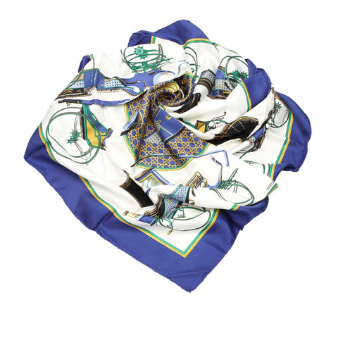 Blue Hermes Les Voitures a Transformation Silk Scarf