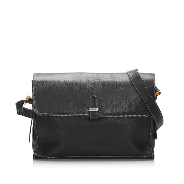Black Loewe Leather Crossbody Bag