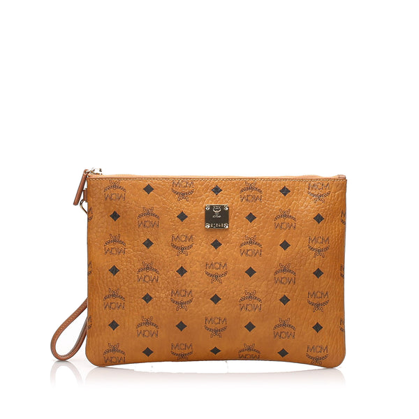 Brown MCM Visetos Leather Clutch Bag