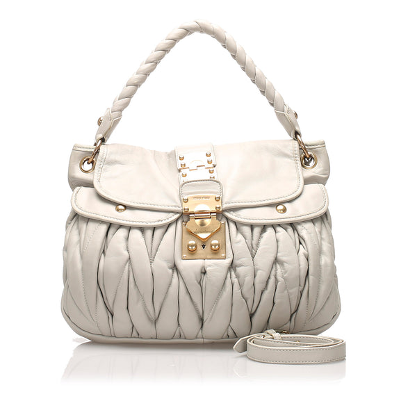 Gray Miu Miu Coffer Leather Satchel Bag