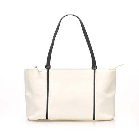 White Burberry Leather Tote Bag