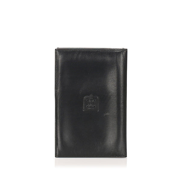 Black Celine Triomphe Leather Passport Cover