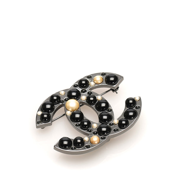 Black Chanel CC Faux Pearl Brooch