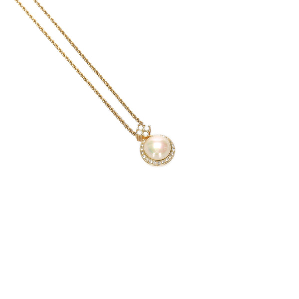 Gold Dior Faux Pearl Pendant Necklace