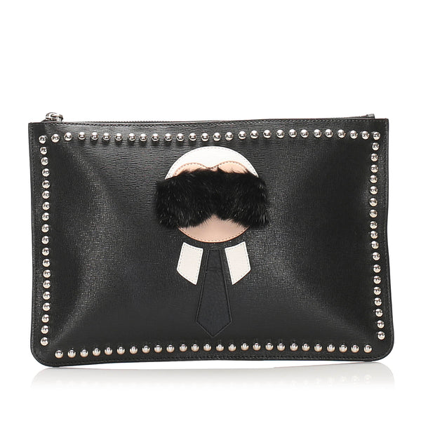 Black Fendi Karlito Leather Clutch Bag