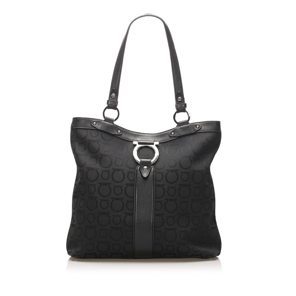 Black Ferragamo Gancini Nylon Tote Bag
