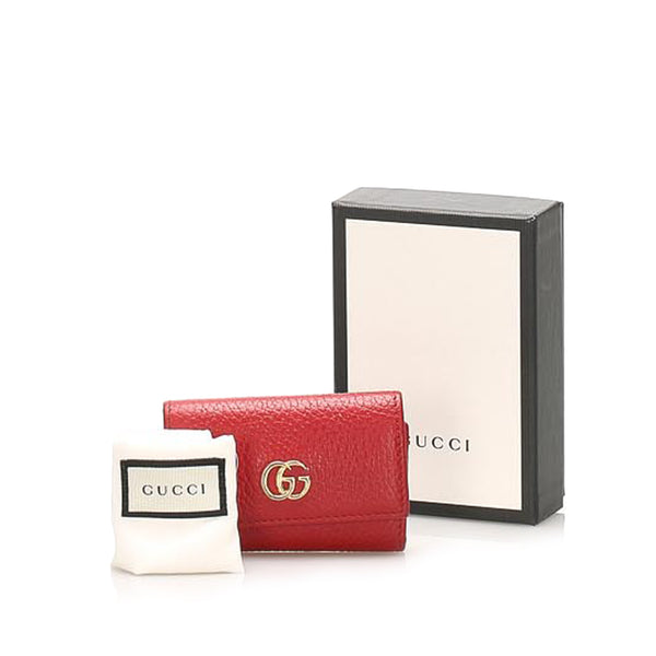 Red Gucci GG Marmont Leather Key Holder