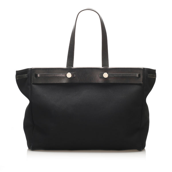 Black Hermes Herbag Cabas GM Bag