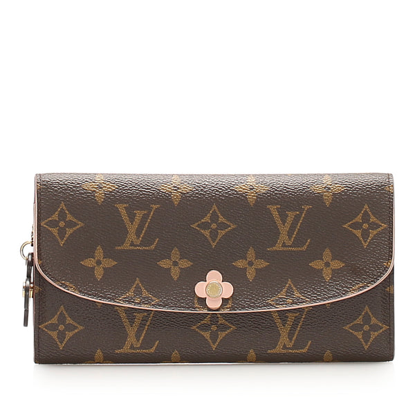 Brown Louis Vuitton Monogram Emilie Bloom Long Wallet