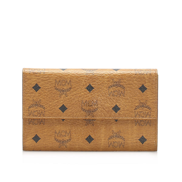 Brown MCM Tri-fold Visetos Leather Small Wallet