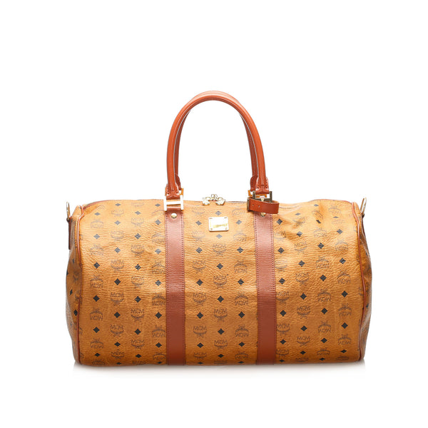 Brown MCM Visetos Leather Duffle Bag