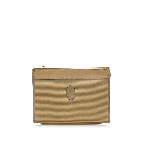 Brown YSL Canvas Clutch Bag