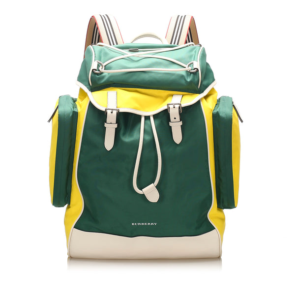 Green Burberry Nylon Backpack Bag