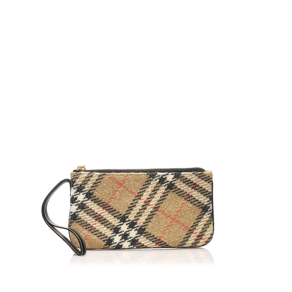 Brown Burberry Nova Check Wool Pouch