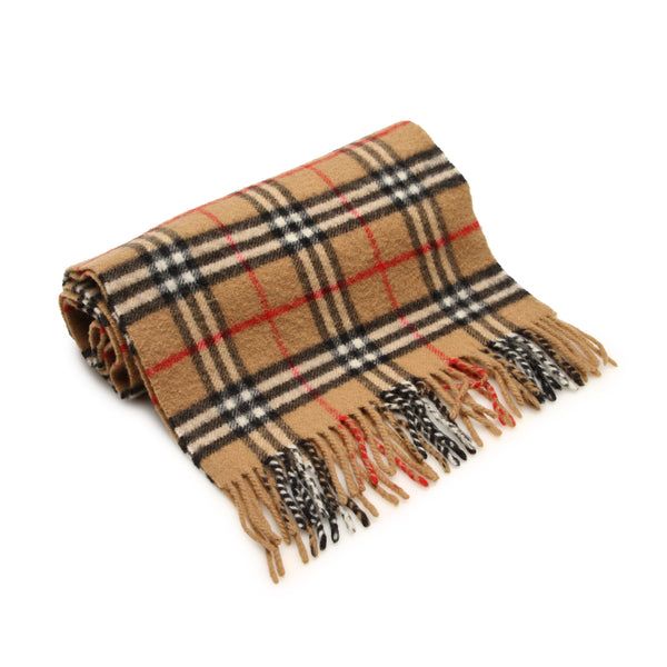 Brown Burberry House Check Wool Scarf