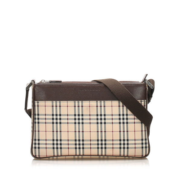 Beige Burberry House Check Canvas Crossbody Bag