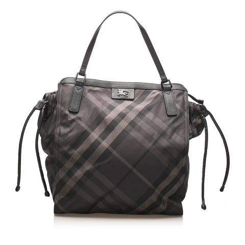 Black Burberry Smoke Check Buckleigh Nylon Tote Bag