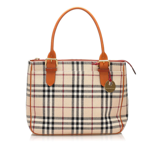 Brown Burberry House Check Wool Tote Bag