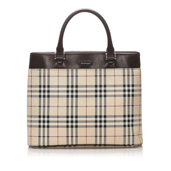 Brown Burberry House Check Canvas Tote Bag