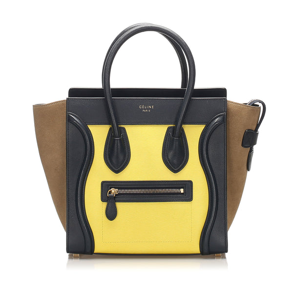 Yellow Celine Luggage Leather Tote Bag