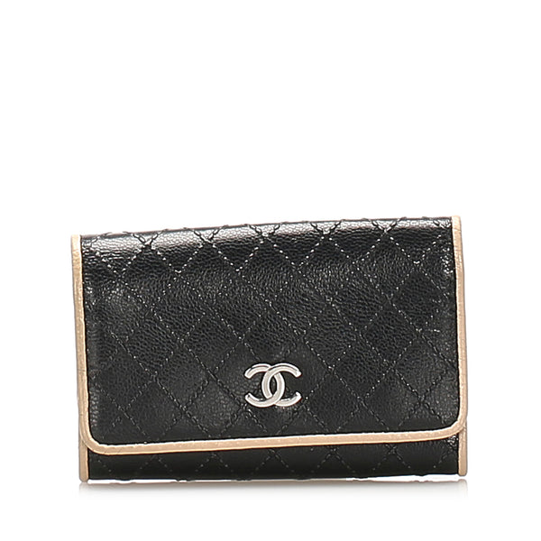 Black Chanel CC Lambskin Leather Key Holder