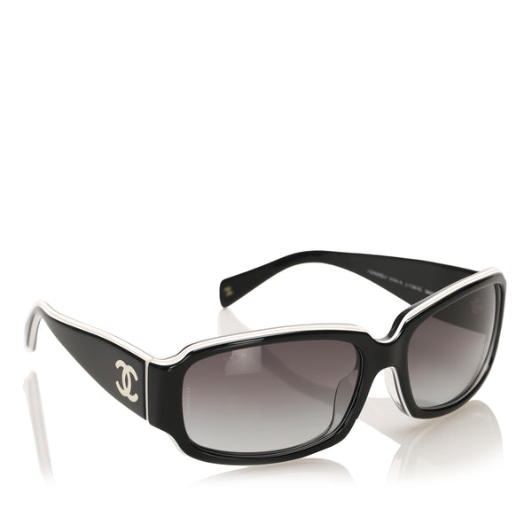 Black Chanel Round Tinted Sunglasses