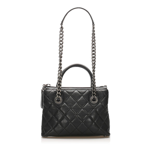 Black Chanel Matelasse Lambskin Leather Satchel Bag