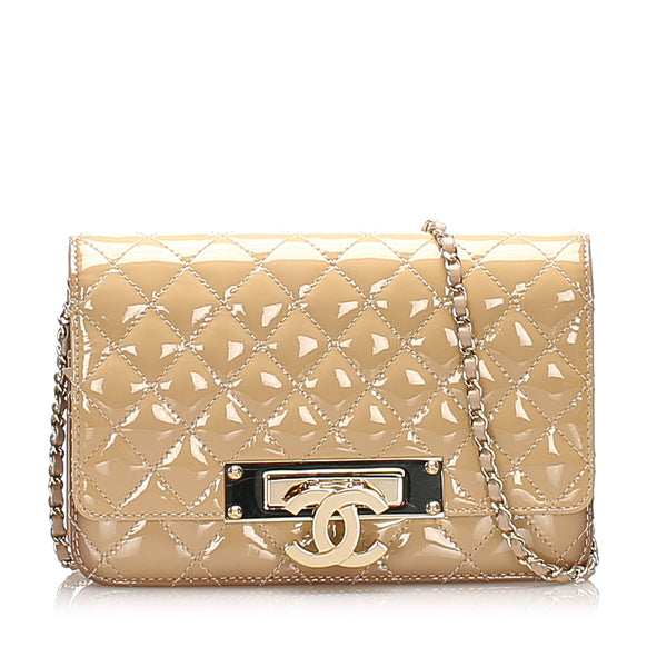 Beige Chanel CC Timeless Patent Leather Wallet on Chain