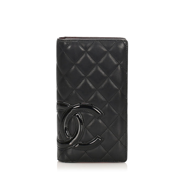 Black Chanel Cambon Ligne Lambskin Leather Wallet