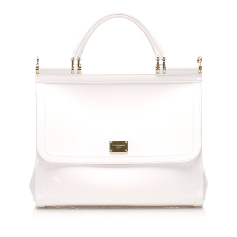 White Dolce&Gabbana Miss Sicily Patent Leather Satchel Bag