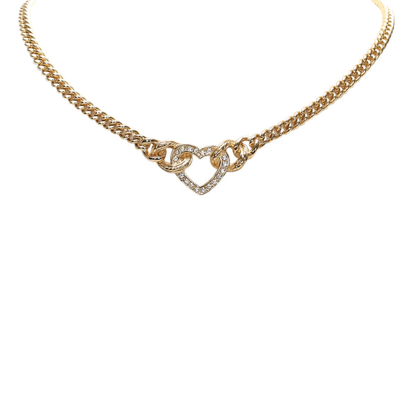 Gold Dior Heart Pendant Necklace