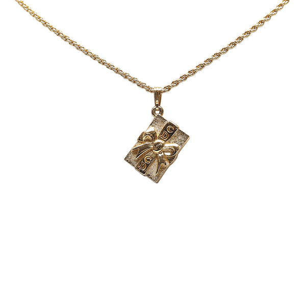 Gold Dior Cube Pendant Necklace