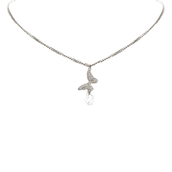 Silver Dior Butterfly Pendant Necklace