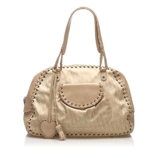 Brown Dior Diorissimo Canvas Shoulder Bag