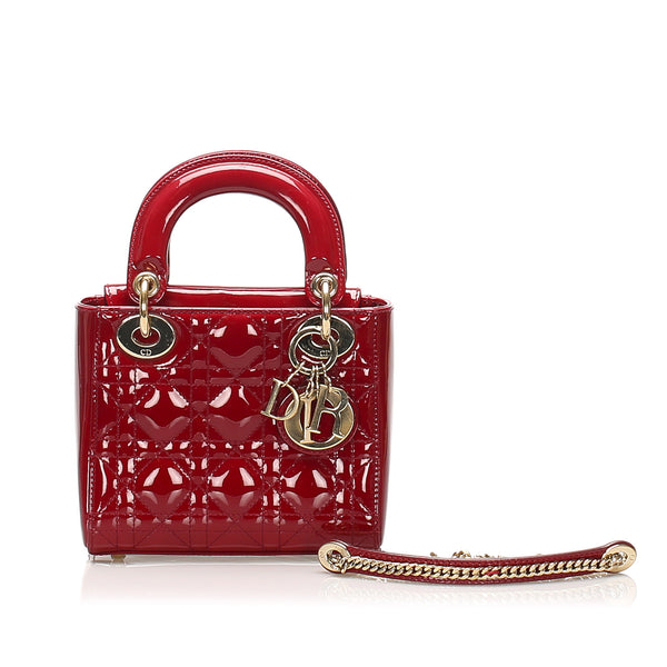 Red Dior Cannage Lady Dior Patent Leather Satchel Bag