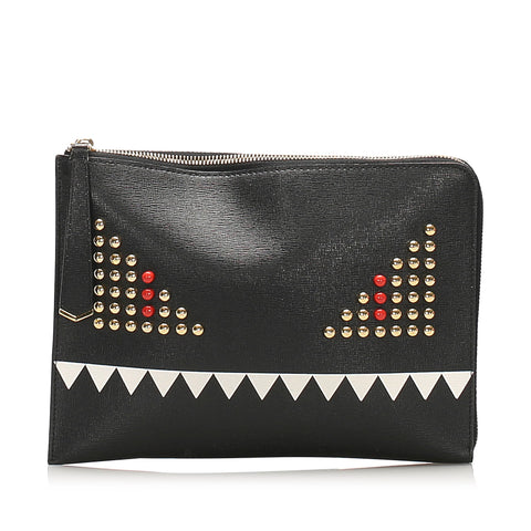 Black Fendi Monster Leather Clutch Bag