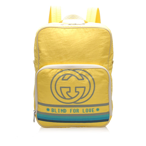 Yellow Gucci Blind For Love Nylon Backpack Bag