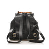 Black Gucci Bamboo Drawstring Leather Backpack Bag