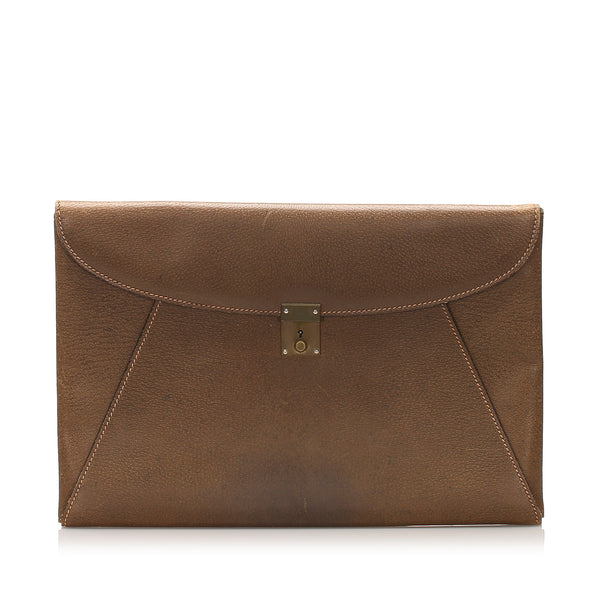 Brown Gucci Leather Clutch Bag