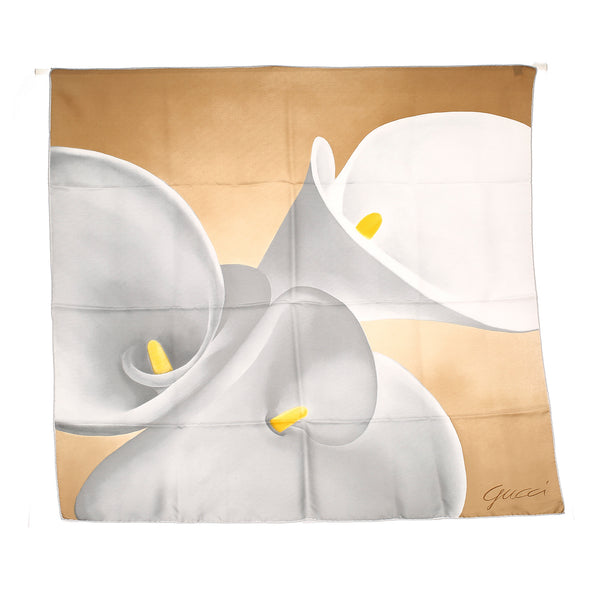 Tan Gucci Printed Silk Scarf