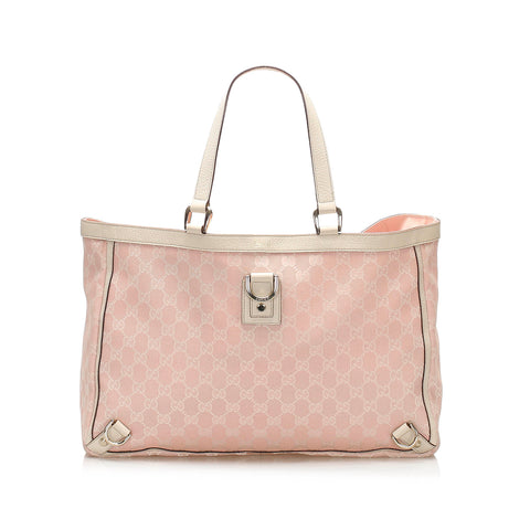 Pink Gucci GG Canvas Abbey D- Ring Tote Bag