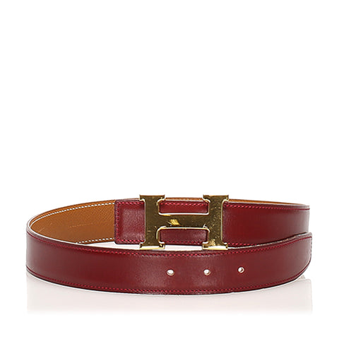 Red Hermes Constance Leather Belt