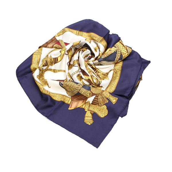 Gold Hermes Grand Uniforme Silk Scarf