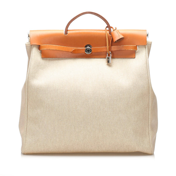 Beige Hermes Herbag GM Canvas Satchel Bag